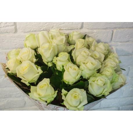 """Букет """"Бело-зелёная роза"""""""